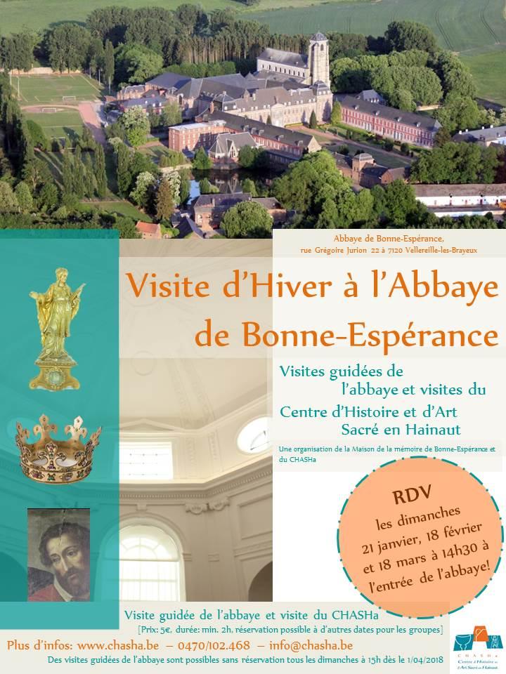 Affiche visite d'hiver à l'abbaye de Bonne-Espérance